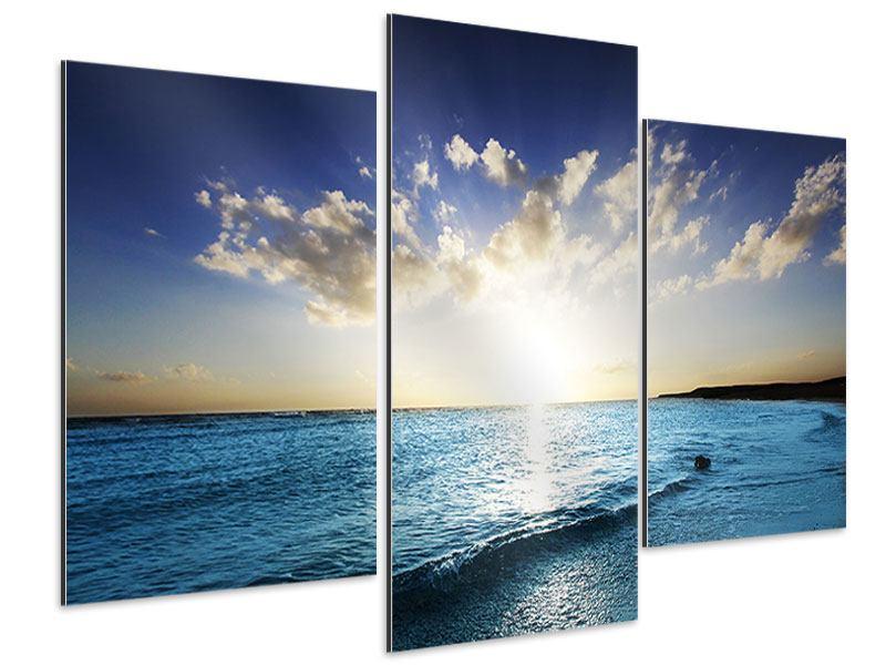 Aluminiumbild 3-teilig modern Das Meer im Sonnenaufgang