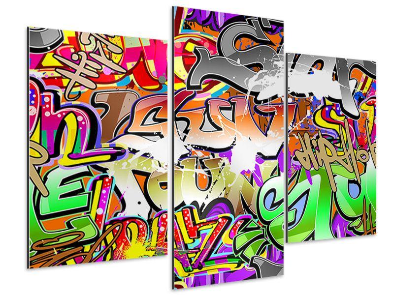 Aluminiumbild 3-teilig modern Writings