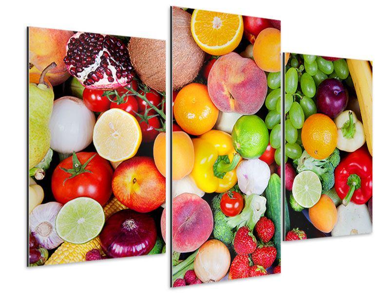 Aluminiumbild 3-teilig modern Frisches Obst