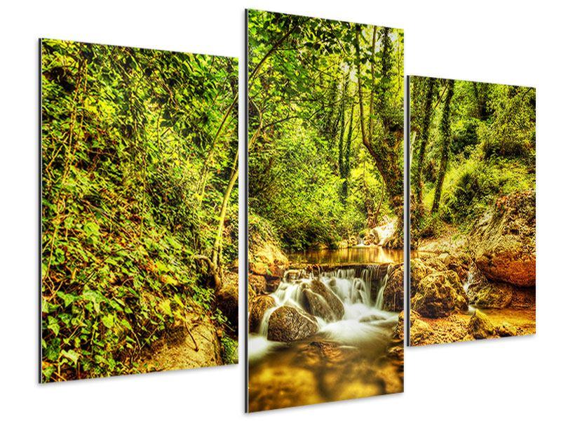 Aluminiumbild 3-teilig modern Wasserfall im Wald