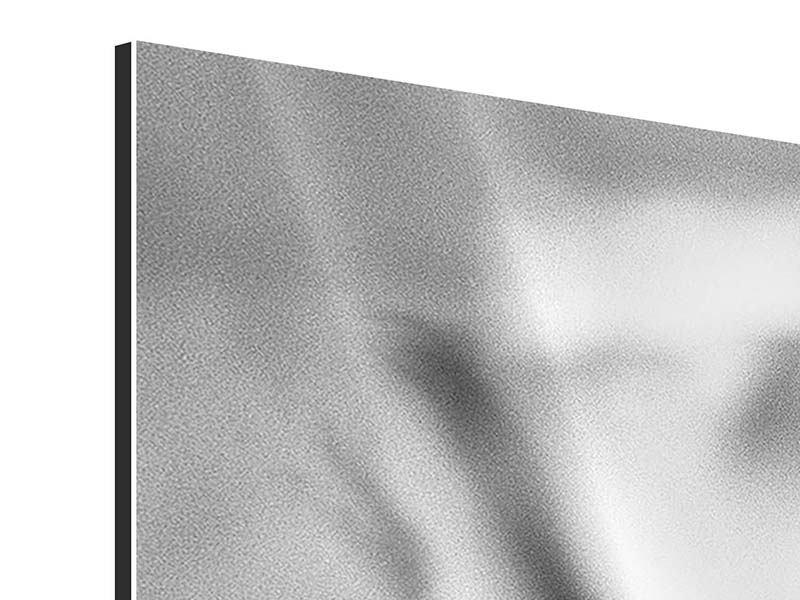 Aluminiumbild 3-teilig modern Makro Lilienblatt
