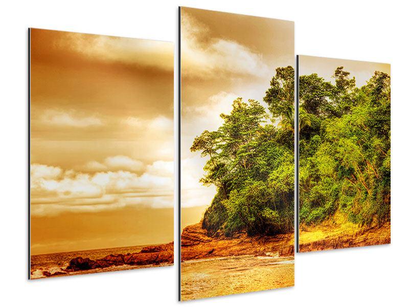 Aluminiumbild 3-teilig modern Sonnenuntergang am Ende des Waldes
