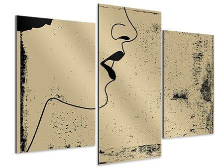 Aluminiumbild 3-teilig modern Frauenportrait im Grungestil