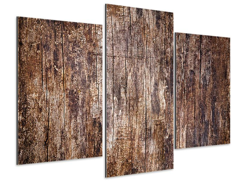 Aluminiumbild 3-teilig modern Retro-Holz