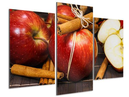 Aluminiumbild 3-teilig modern Äpfel