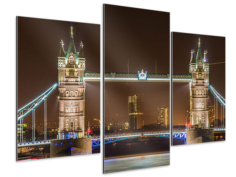 Aluminiumbild 3-teilig modern Tower Bridge bei Nacht