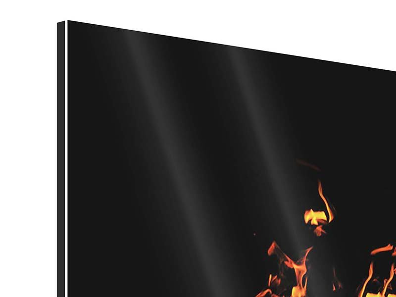 Aluminiumbild 3-teilig modern Moderne Feuerwand