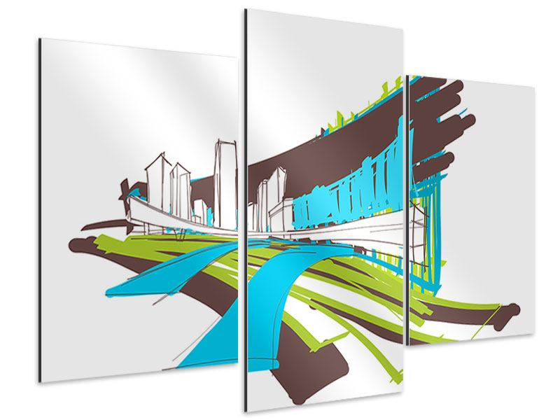 Aluminiumbild 3-teilig modern Graffiti Street-Art