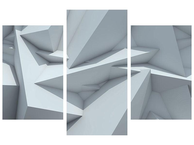 Aluminiumbild 3-teilig modern 3D-Kristallo