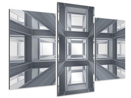 Aluminiumbild 3-teilig modern Räume