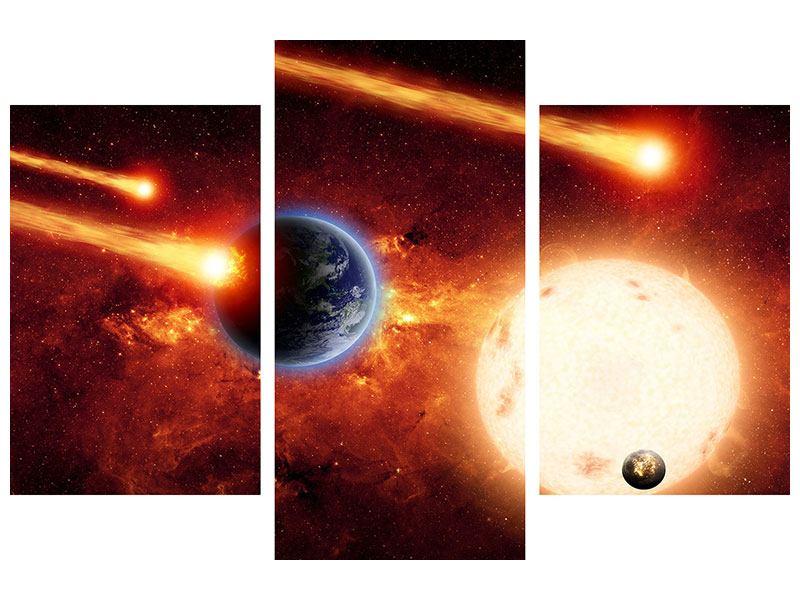 Aluminiumbild 3-teilig modern Der Kosmos