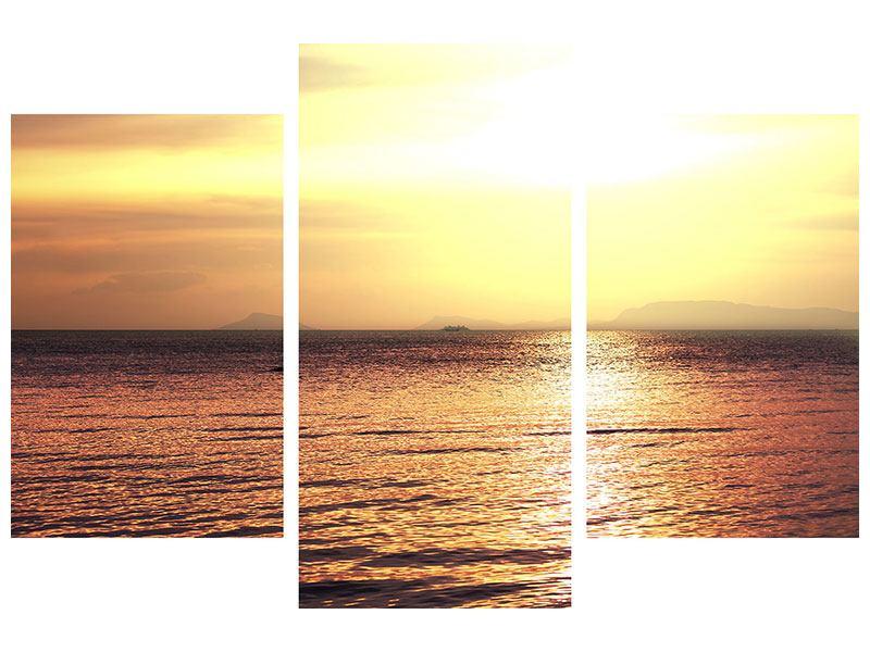 Aluminiumbild 3-teilig modern Sonnenuntergang an der See