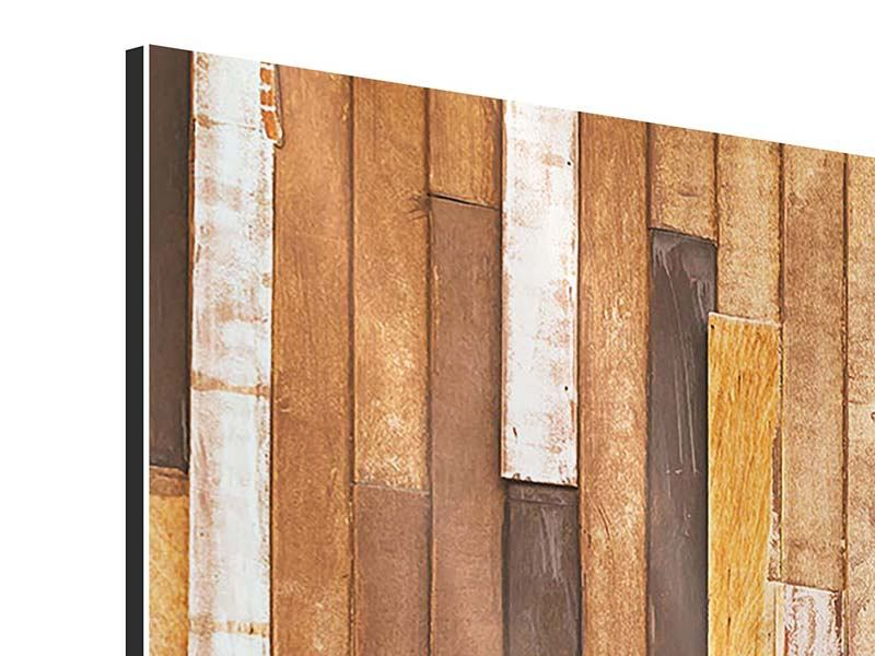 Aluminiumbild 3-teilig modern Designholz
