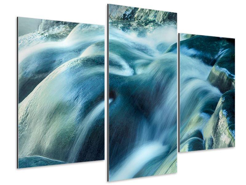 Aluminiumbild 3-teilig modern Das Fliessende Wasser