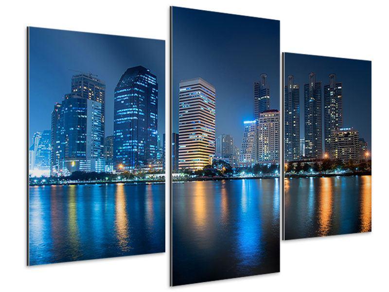 Aluminiumbild 3-teilig modern Skyline Bangkok bei Nacht
