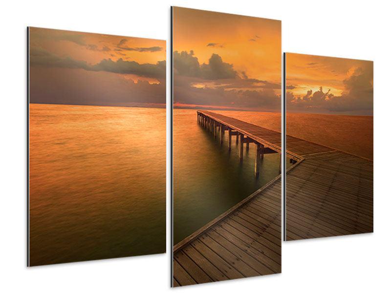 Aluminiumbild 3-teilig modern Der Steg am Meer