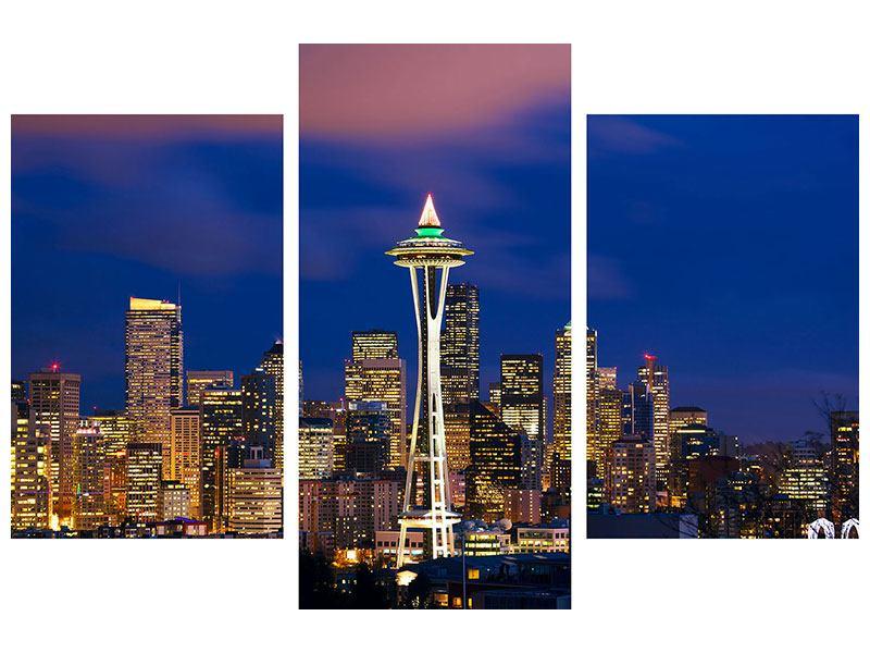 Aluminiumbild 3-teilig modern Skyline Seattle