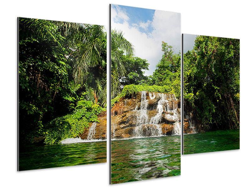Aluminiumbild 3-teilig modern Lagune