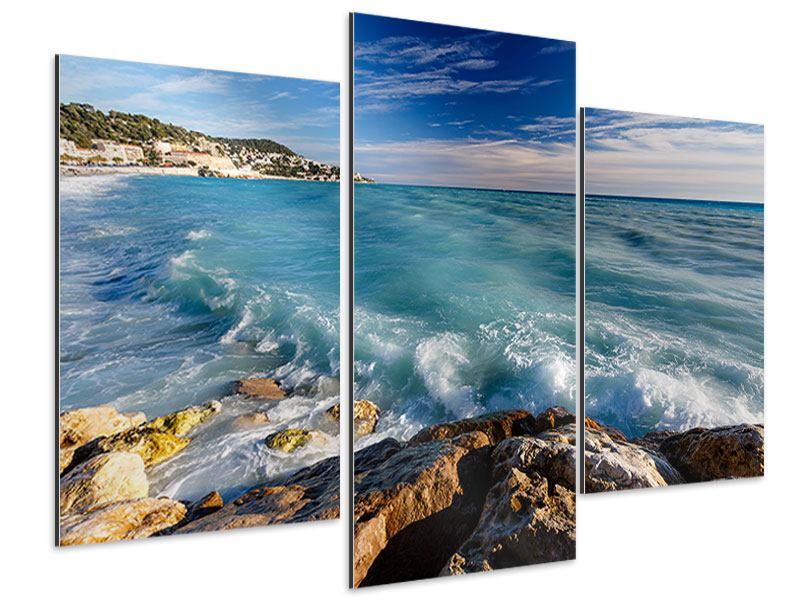 Aluminiumbild 3-teilig modern Cote D`Azur