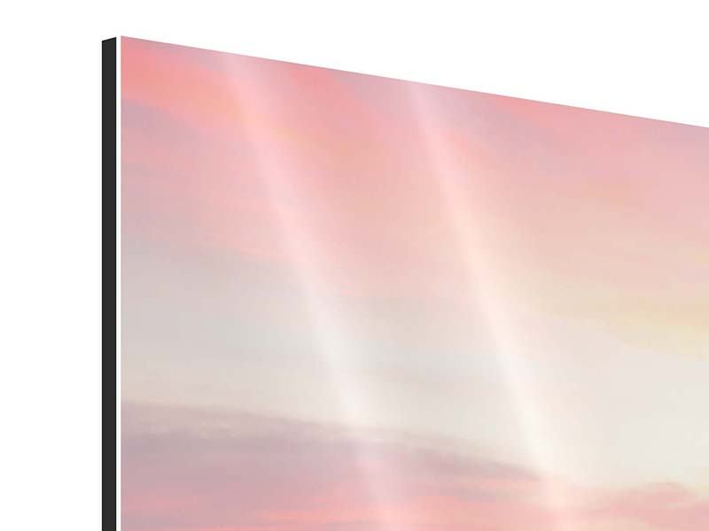 Aluminiumbild 3-teilig modern Der beruhigende Sonnenuntergang