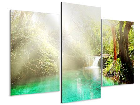 Aluminiumbild 3-teilig modern Die grüne Lagune