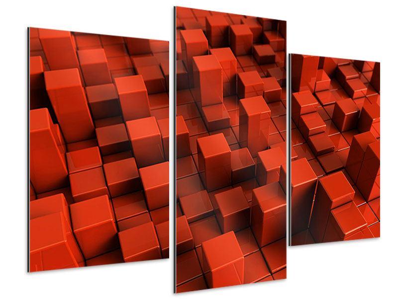 Aluminiumbild 3-teilig modern 3D-Rechtkant