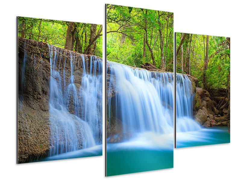 Aluminiumbild 3-teilig modern Wasserfall Si Nakharin