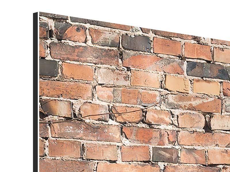 Aluminiumbild 3-teilig modern Alte Backsteinmauer