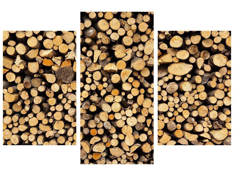 Aluminiumbild 3-teilig modern Brennholz