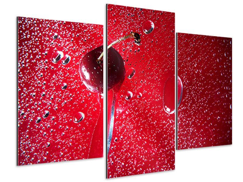 Aluminiumbild 3-teilig modern Die Kirsche
