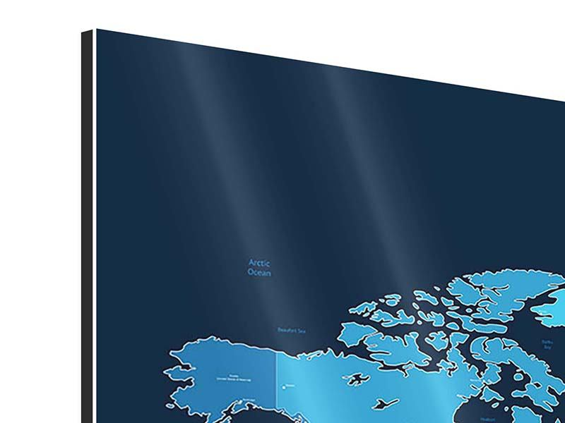 Aluminiumbild 3-teilig modern Weltkarte