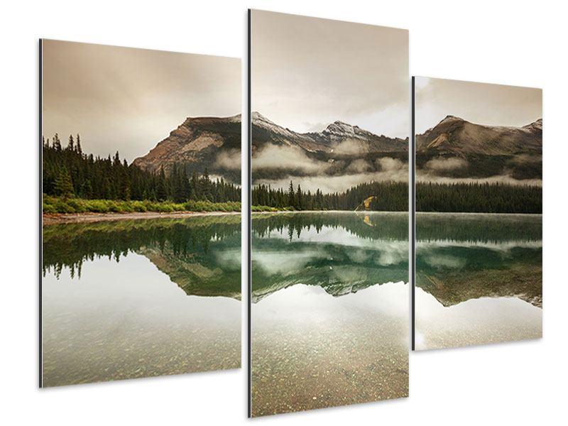 Aluminiumbild 3-teilig modern Spiegelung im Glacier Nationalpark