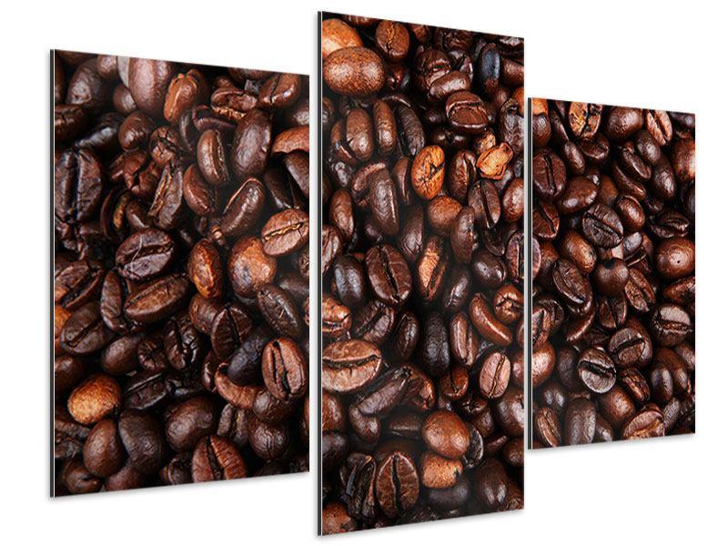 Aluminiumbild 3-teilig modern Kaffeebohnen in XXL