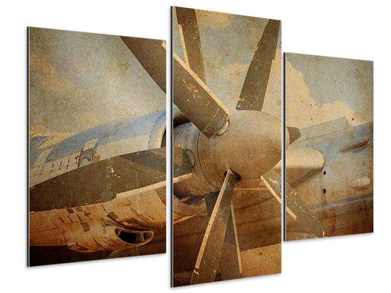 Aluminiumbild 3-teilig modern Propellerflugzeug im Grungestil