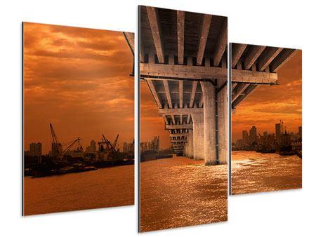 Aluminiumbild 3-teilig modern Die Brücke