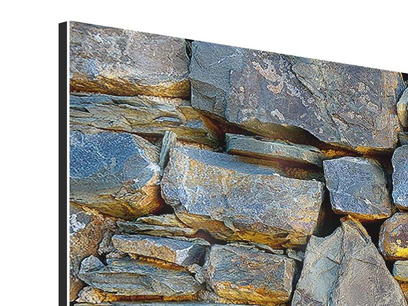 Aluminiumbild 3-teilig modern Natürliche Steinmauer