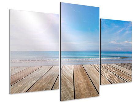 Aluminiumbild 3-teilig modern Das schöne Strandhaus
