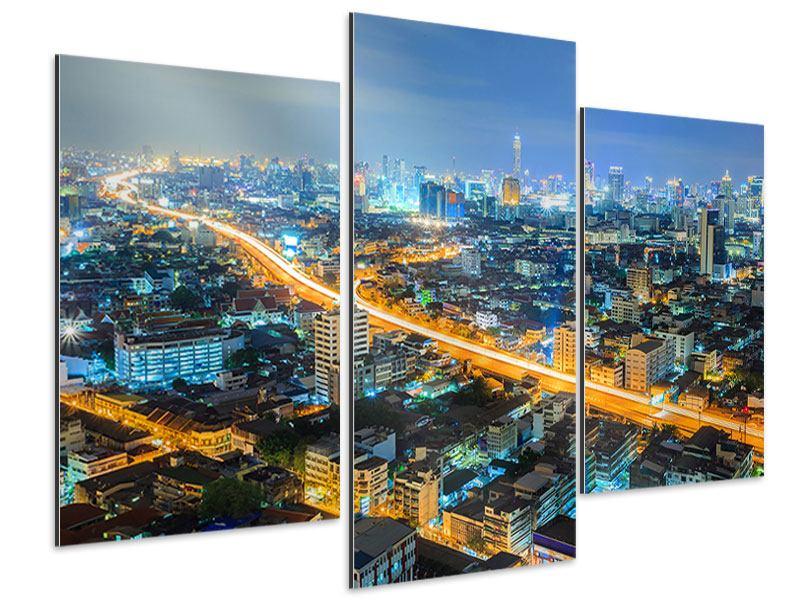 Aluminiumbild 3-teilig modern Skyline Bangkok im Fieber der Nacht