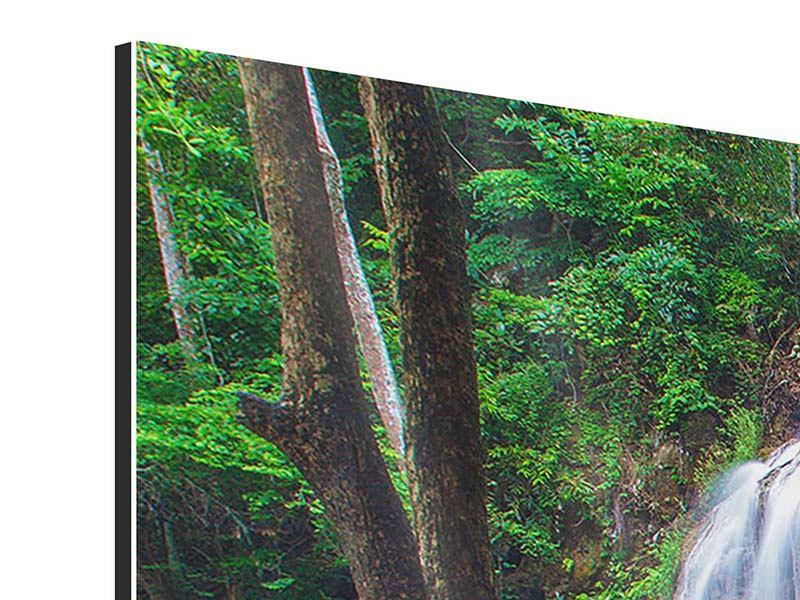 Aluminiumbild 3-teilig modern Naturerlebnis Wasserfall