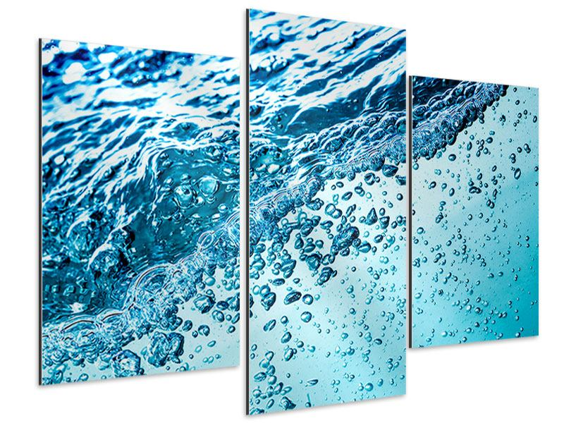 Aluminiumbild 3-teilig modern Wasser in Bewegung