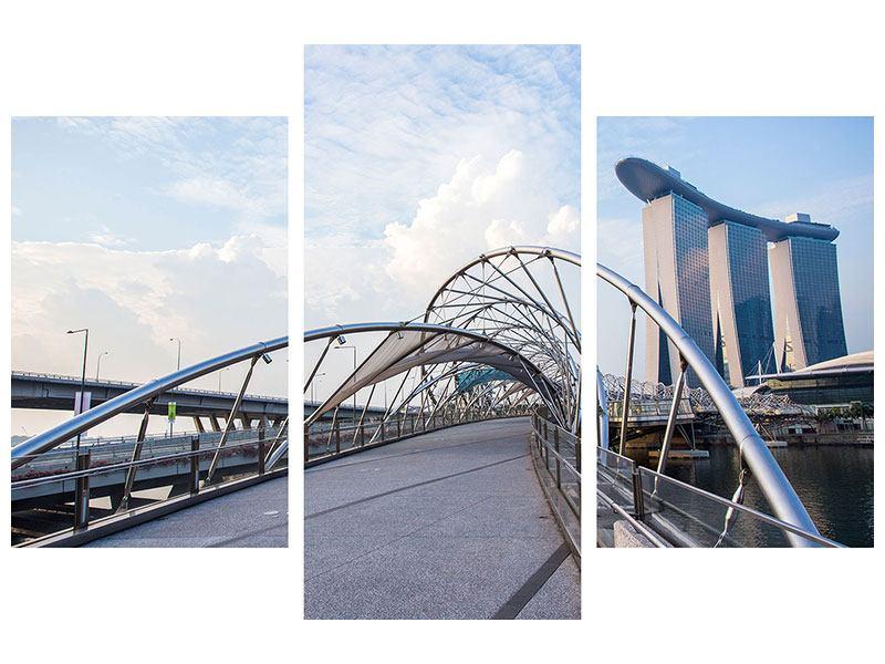 Aluminiumbild 3-teilig modern Helix-Brücke