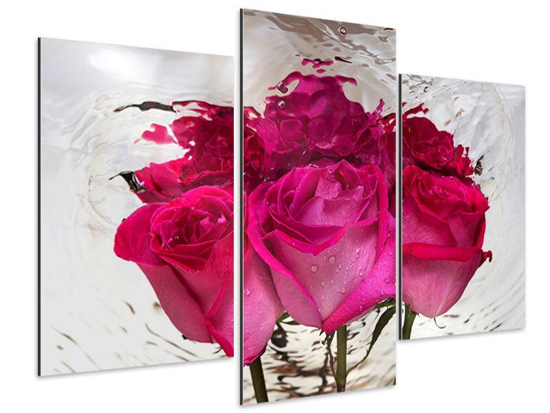 Aluminiumbild 3-teilig modern Die Rosenspiegelung