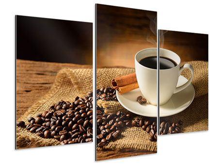 Aluminiumbild 3-teilig modern Kaffeepause