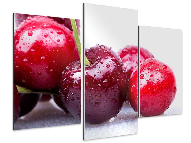Aluminiumbild 3-teilig modern Kirschen