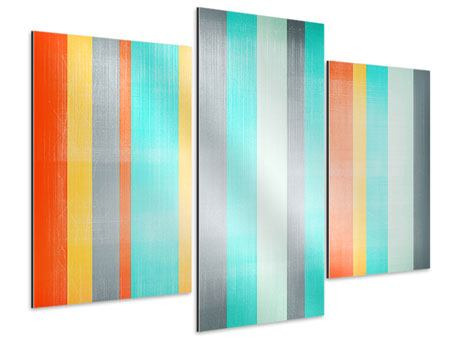 Aluminiumbild 3-teilig modern Grunge Streifen