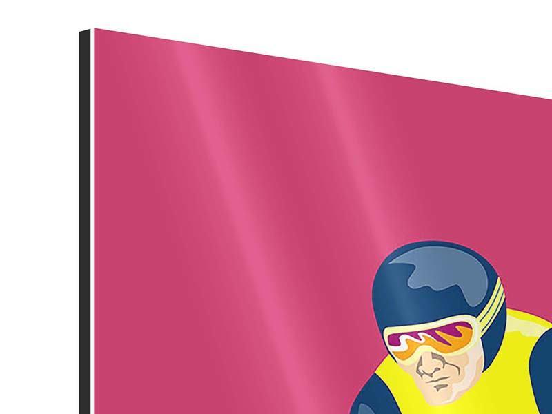 Aluminiumbild 3-teilig modern Retro-Skifahrer