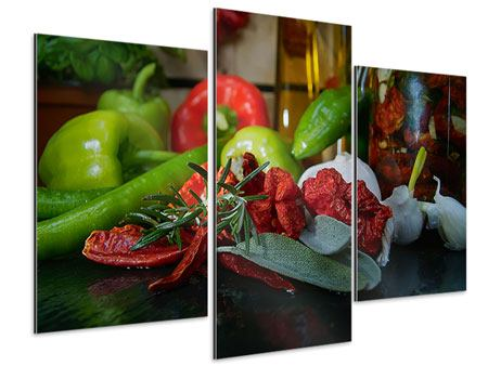 Aluminiumbild 3-teilig modern Mediterranes Gemüse