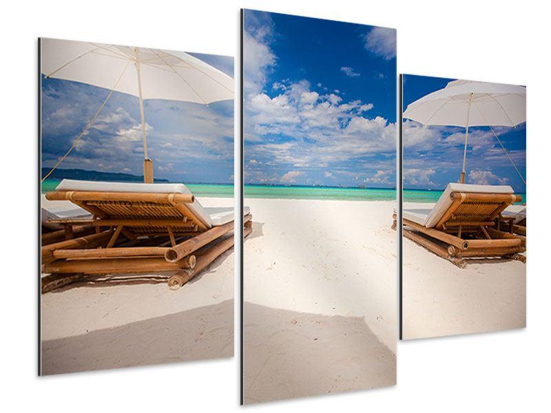 Aluminiumbild 3-teilig modern Liegen am Strand