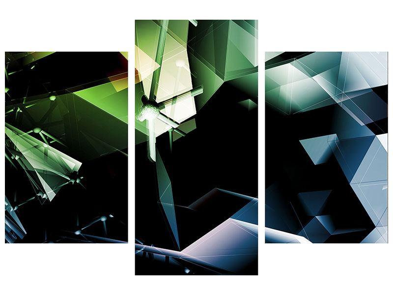 Aluminiumbild 3-teilig modern 3D-Polygon