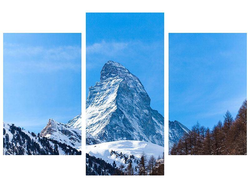 Aluminiumbild 3-teilig modern Das majestätische Matterhorn